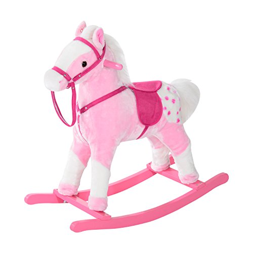 HOMCOM Children Child Kids Plush Rocking Horse with Sound Handle Grip Traditional Toy Fun Gift Brand New (Pink)