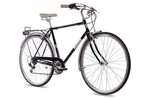 CHRISSON 28 Zoll Herren City Bike - Vintage City Gent schwarz - Old School Herrenfahrrad mit 6 Gang Shimano Tourney Kettenschaltung, Retro Cityfahrrad für Männer