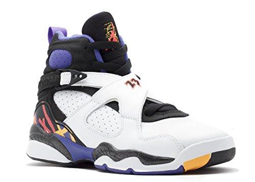 Nike Jungen Air Jordan 8 Retro BG Turnschuhe, Weiß/Schwarz/Blau (Weiß/Infrrd 23-Blk-Brght Azng), 37 1/2 EU (Air Jordan Retro 5 Kinder)