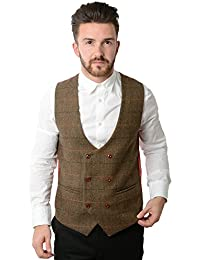 Marc Darcy Lee Nelson Double Breasted Tan Multi Tonal Check Tweed Waistcoat
