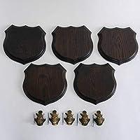 GTK – Cartel de Cuernos y trofeos de Madera de Cordero, 5 Unidades, Escudo de jabalí, Forma de Escudo, AF 17 cm, con Cabeza de cuña, Cubierta pequeña