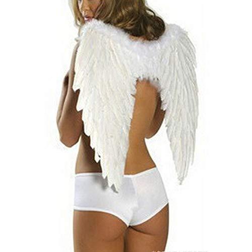 60 * 45 cm Damen Engel Feder Flügel Foto Prop Bühnenshow Halloween Kostüm Party Kinder Mädchen Kind Geburtstagsgeschenk hochzeit (Feder Kostüme Flügel)