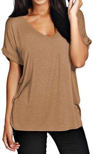 Maglia da donna modello ampio con scollo a V, linea morbida a pipistrello Camel - Bagi Oversized Top