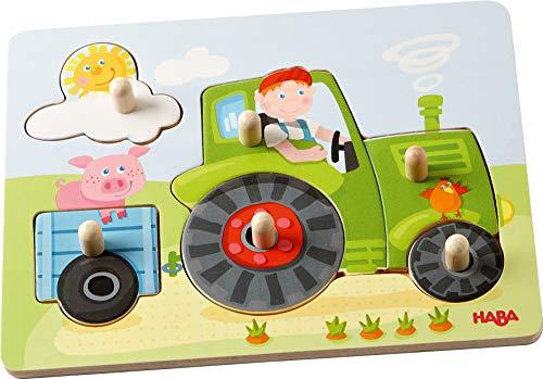 HABA 302535 - Greifpuzzle Peters Bauernhof, 6-teiliges Holzpuzzle mit großen, griffigen Holzknöpfen, Holzspielzeug ab 12 Monaten