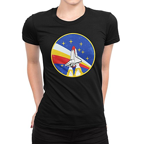BLAK TEE Vintage Retro NASA Space Badga Patch Damen T-Shirt M (V-neck Distressed Jersey)