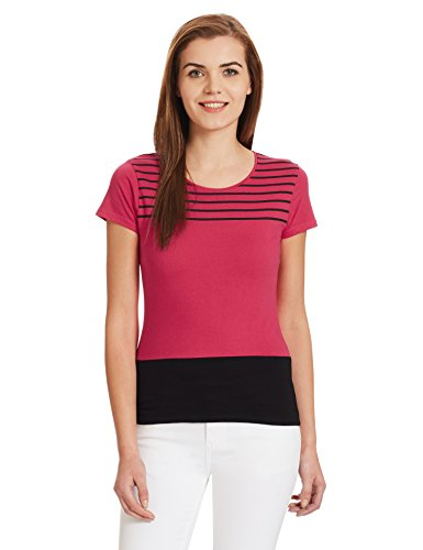 Jealous 21 Women's Abstract Print T-Shirt (JU3657_Pink_40)