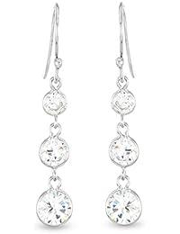 Luxveritasgemma - Boucles d'oreilles pendantes - Argent 925 - Oxyde de Zirconium - BOMO01070