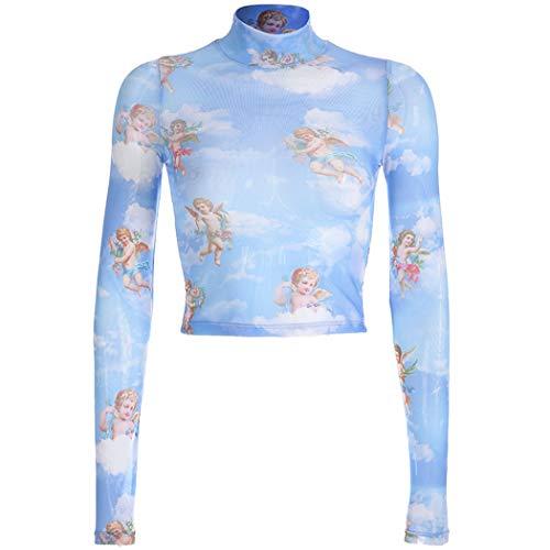 Herzförmiger Tunika Top (XWBO Damen Transparent Oberteile Kleiner Engel Muster Lange Ärmel Shirt Reizvolle Mesh Tüll Top T-Shirt Bluse Tee Rollkragen Tanktop S-L)