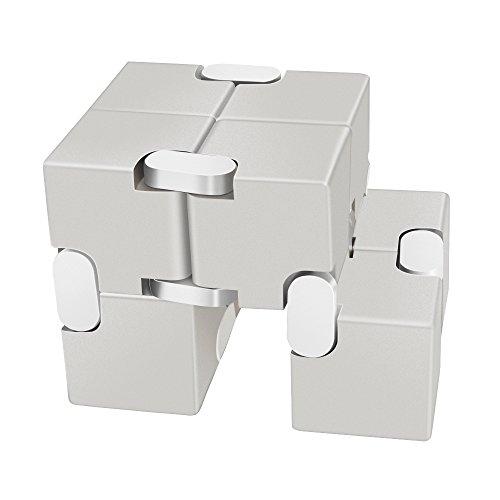 LilBit Fidget Hand Finger Infinity Cube Giochi Giocattolo, Lega di Alluminio, Stress Relief Toys per Anxiety Autism ADD ADHD EDC Bambini / Adulto Argento - 4