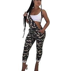 Kolylong Été Femme Combinaison Camouflage Sangle Ensemble de Denim Bib Pantalon Jumpsuit Playsuit Jeans Salopette Overalls Set Vêtements Femmes