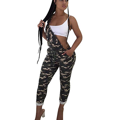 MEIbax Damen Camouflage Sling Jumpsuit Strap Casual Hosen Strampler Bedruckte Bunte Leggins Fitnesshose -