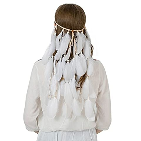 Gypsy Halloween Costumes Pour Les Femmes - AWAYTR Tribal Boho Hippie Plume Bandeau Mariage