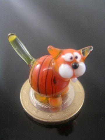 orange 2 mini Glass Cat Figurine
