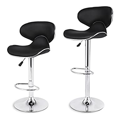 LANGRIA Shanghai Tall Bar Stools Set with Leatherette Exterior, Adjustable Gas Lift, Chrome Plated Footrest and Base for Bar, Counter or Home - cheap UK light shop.