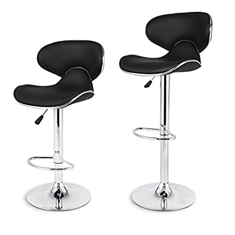 LANGRIA Shanghai Tall Bar Stools Set with Leatherette Exterior, Adjustable Gas Lift, Chrome Plated Footrest and Base for Bar, Counter or Home (Black)