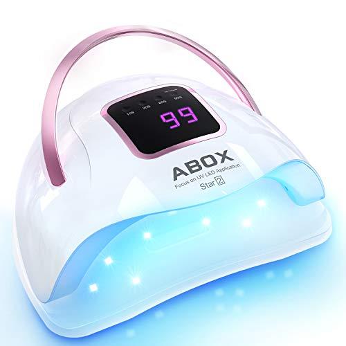ABOX Lámpara LED UV Uñas 72W con 4 Temporizadores 10s, 30s, 60s, 99s, Sensor Automático y Diseño...