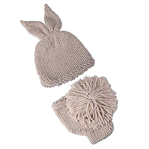 Yissma Neugeborenes Baby Fotografie Requisiten Kaninchen Hut Strick Kaninchen Häkeln Strick Outfits und Karotten für Jungen Mädchen Fotografie ()