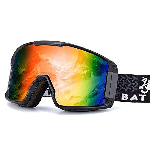 BATFOX Skibrille Snowboard brillenträger Brille Doppel-Objektiv UV-Schutz Anti-Fog Skibrille Für Damen Und Herren Jungen Und Mädchen Kinder Skifahren Skibrillen Verspiegelt