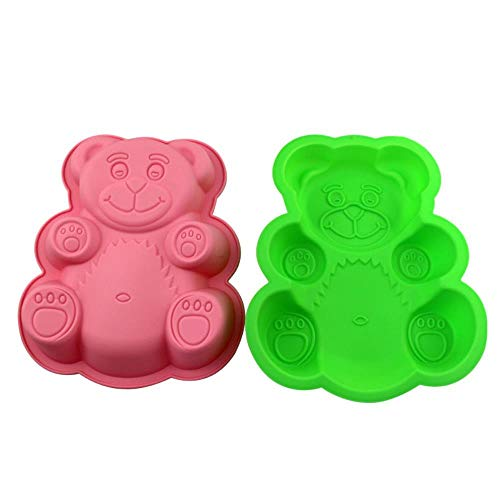 SULUO Silicone Big Teddy Bear Shaped Molds Baking Decorating Tools for Cookie Chocolate Jelly Dessert Soap Mould Baking Accessories,A (Big-muffin-tin)
