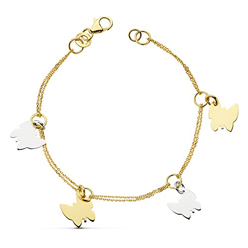 Gold Damen-Armband bicolor 18 K Charms Schmetterling