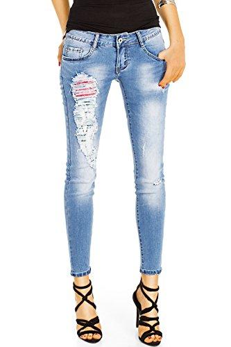 Bestyledberlin Damen Röhrenjeans knöchellang, Stretch Hüftjeans, Skinny Fit Jeans Super Destroyed Style j102kw 40/L