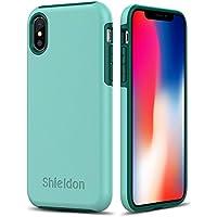 """Funda iPhone X, SHIELDON [Plateau Series] iPhone X Carcasa con 2 Capa[Suave TPU y Duro PC] Ultra Delgado [Resistente impactos][Diseño de Esquinas Fortificadas] para Apple iPhone X/iPhone 10(5.8"""") 2017 - Menta Verde"""