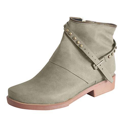 Smonke Damen Leder Seitlichem Reißverschluss Wohnungen Runde Kappe Nieten Mit Niedrigen Absätzen Westlichen Stiefeletten Mode Lässig Quadratische Absätze Im Freien Winter Schuhe