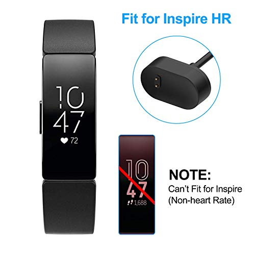 TASLAR Charger USB Charging Cord Cradle Dock Adapter Clip Cable Charger Accessories Compatible with Fitbit Inspire and Inspire HR (Black)