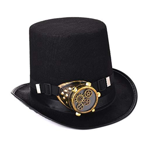 DETZFSWBG Steampunk Top Hat Punk Getriebe Goggle Kostüm Gothic Hats Zubehör (Top Schablone Halloween Kostüme)