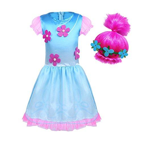 BT Willing - Costume cosplay di Halloween per bambine da troll con parrucca  della principessa Poppy 6001a8f6da3f
