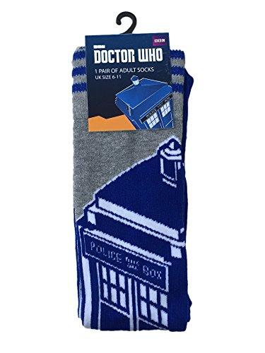 Blue & Grey Tardis Official Socks for Men - UK Size 6 - 11