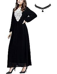 74d235869 M-Queen Mujer Musulmán Vestido Túnica Kaftan Abaya Islam Manga Larga Maxi  Vestido Arab Suelto