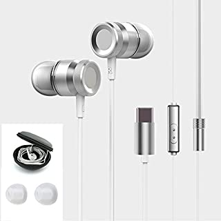 ANTFEES USB Type C Metal Earbud Headsets Headphone Noise Isolating Earphone CDLA HiFi Carrying Case Heavy Bass Stereo with Microphone(White)