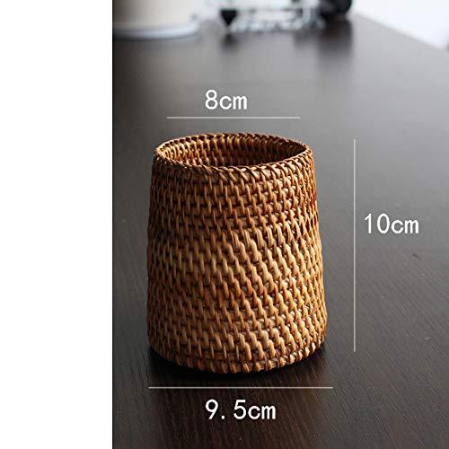 Rattan Bambus Weben Stifthalter, Handmade Stift veranstalter Kreativ Kugelschreiber-bleistift-cup Office Stifthalter Dekoration Kosmetik-F 8x10x10cm(3x4x4inch) -