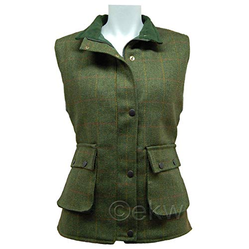 Spiel-Damen Leichte Derby Tweed Weste Gesteppte Weste Bodywarmer-D35 Gr. 34, grün -