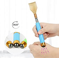 Frackson Back Extendable Scratcher With 360 Degree Magnetic rolling Stone Telescopic Itching Stick Back Massager, Extendable Extra Long Massage Tools,Stainless Steel Heavy Duty Curved Back Itching Scratcher with Non-Slip Handle for Men Women Kids