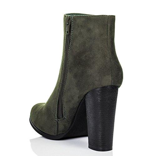 SPYLOVEBUY THORA Damen Blockabsatz Stiefeletten Schuhe Grün - Synthetik Wildleder