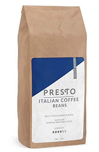 KaffeeBohnen - Espresso Bohnen - Köstlich kaffee ganze bohnen - kaffeebohnen espresso - Cafè Crema Espresso - 1kg Starke Kaffeebohnen - Presto Kaffee (1 x 1KG KaffeeBohnen)