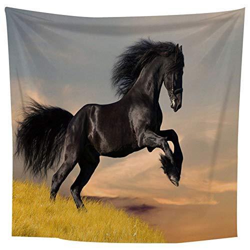 VCB Black Horse 2 x 1,5 m große Wandteppiche Wandbehang Teppich werfen Yoga-Matte - Multi-Color gemischt -