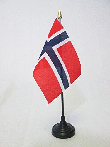 AZ FLAG TISCHFLAGGE NORWEGEN 15x10cm goldene splitze - NORWEGISCHE TISCHFAHNE 10 x 15 cm - flaggen