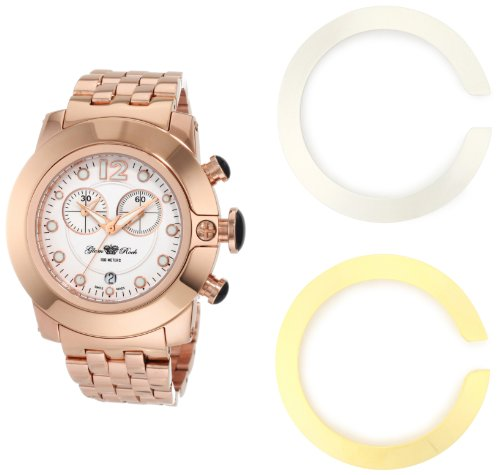 Glam Rock Women's GR32180 SoBe Chronograph White Dial Rose Gold Ion-Plated Stainless Steel Watch