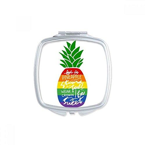 DIYthinker Ananas Rainbow LGBT Flagge Zitat Square Compact Make-up Spiegel Tragbare Niedliche Hand Pocket Spiegel Geschenk -