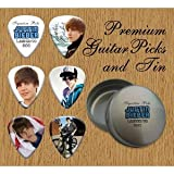Printed Picks Company Justin Bieber 6 Signature Double Sided Guitar Picks in Pick Tin