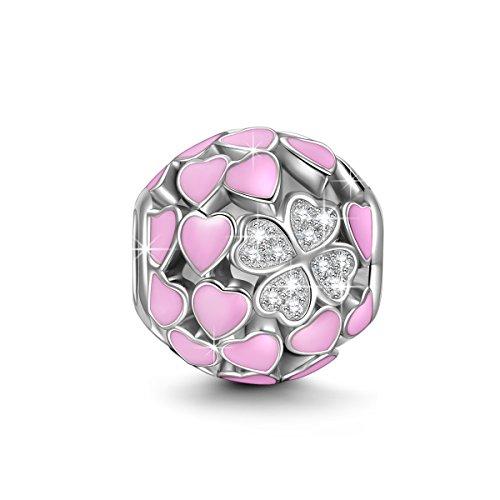 NINAQUEEN Charm für Pandora Charms Armband Rosa Liebe Herz Geschenk für Frauen Paare Silber 925 Schmuck Damen Geschenk zum Valentinstag