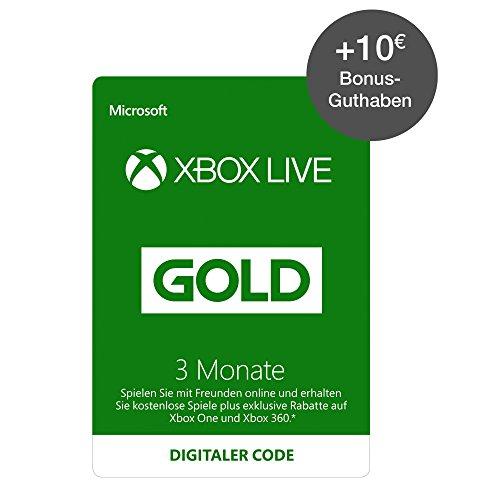 Xbox Live 3 Monate Gold-Mitgliedschaft + 10€ Xbox Live Guthaben [Xbox Live - Download Codes] (Live Gold Xbox)