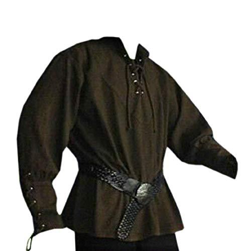 Taoliyuan Herren Renaissance Piratenhemd Kostüm Mittelalter Schnürung Erwachsene Söldner Schottischer Jakobit Ghillie Top - Grün - XXX-Large (Schottische Kostüm Für Erwachsene)