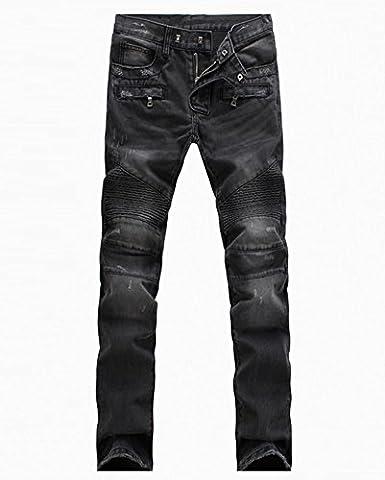 Homme Biker Jeans Slim Straight Stretch Denim Pantalon Noire