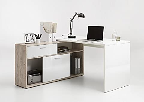 Home Office Furniture Computer Desk Study High Gloss and Sand Oak