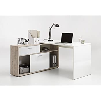 Home Office Furniture Computer Desk Study High Gloss And Sand Oak Office Products