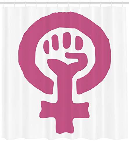 ABAKUHAUS Feminist Duschvorhang, Feminismus Ideologie, mit 12 Ringe Set Wasserdicht Stielvoll Modern Farbfest und Schimmel Resistent, 175x200 cm, Magenta und Weiß